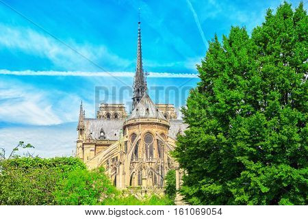 Notre Dame De Paris Cathedral, Most Beautiful Cathedral In Paris. View From The River Seine. France.