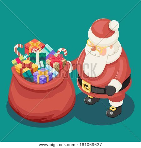 Gifts Bag Cute Isometric Christmas Santa Claus Grandfather Frost Box New Year Cartoon Flat Design Icon Template Vector Illustration