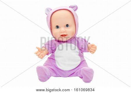 Children's toy doll in purple clothes with a hood isolated on white background