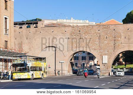 Stop Of Tourist Bus Near Passetto Di Borgo, Rome