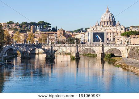 Scenery Of Rome And Vatican City In Autumn