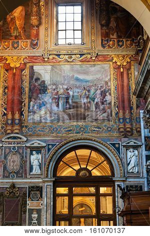 Decor Of The Lateran Basilica In Rome City