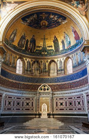 Interior Of The Lateran Basilica In Rome City