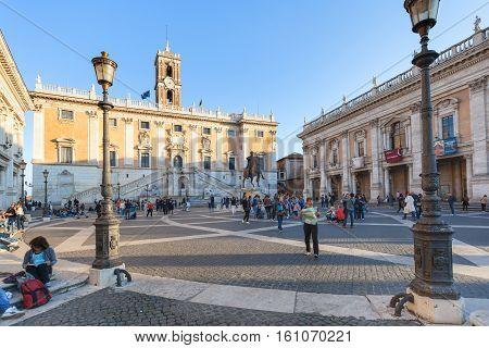 Tourists Near Museum On Piazza Del Campidoglio