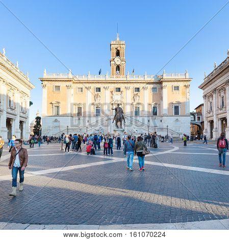 Tourists On Piazza Del Campidoglio In Rome