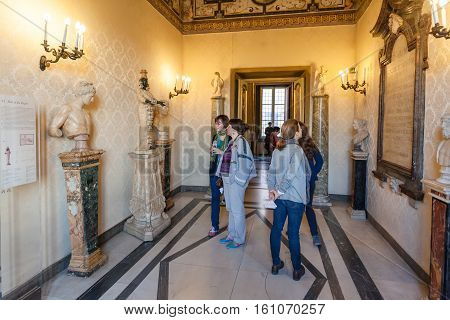 Tourist In Capitoline Museums In Rome