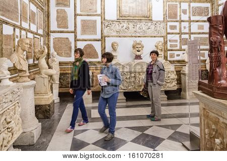 Tourists In Capitoline Museums In Palazzo Nuovo