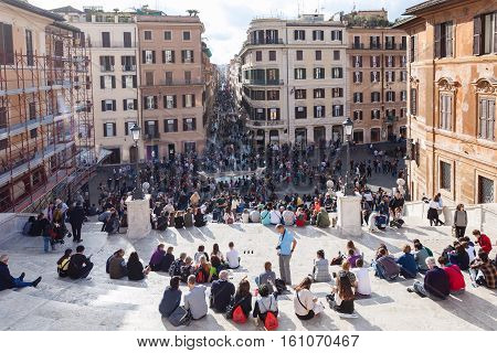 People On Spanish Steps In Rome City