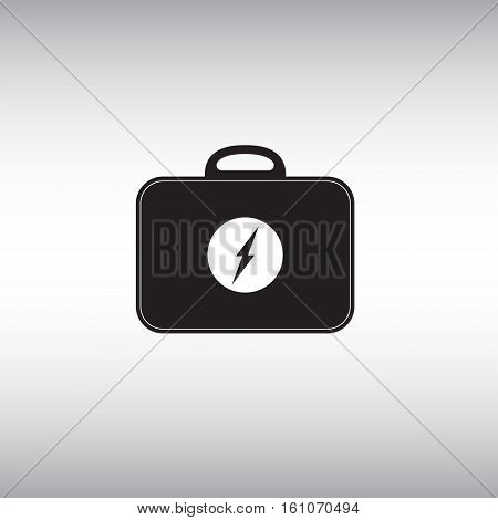 Electric toolbox flat vector sign. Electrician toolbox isolated vector icon. Electricity problems repair kit vector illustration. Recharger bag vector image.
