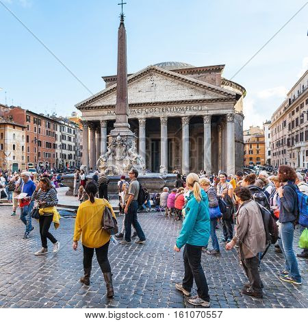 People Near Pantheon Edifice In Rome City