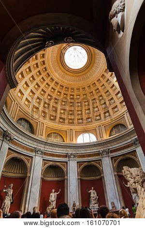 The Dome In Round Room Of Vatican Museums