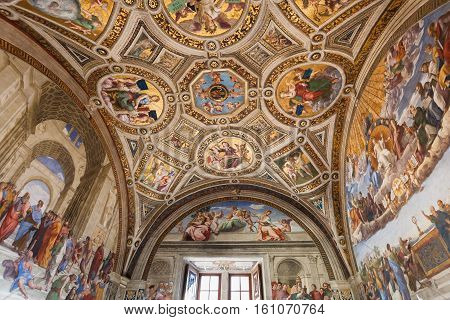 Ceiling Room Of The Signatura In Vatican Museums