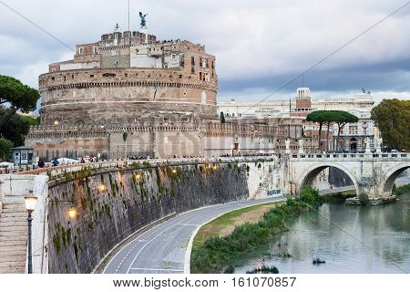 Waterfront Of Tiber River And Castle Of Holy Angel
