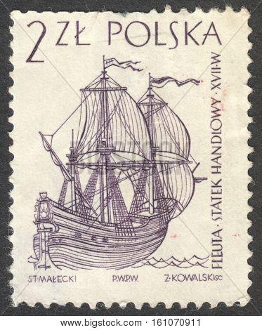 MOSCOW RUSSIA - CIRCA NOVEMBER 2016: a post stamp printed in POLAND shows a Dutch merchant ship the series