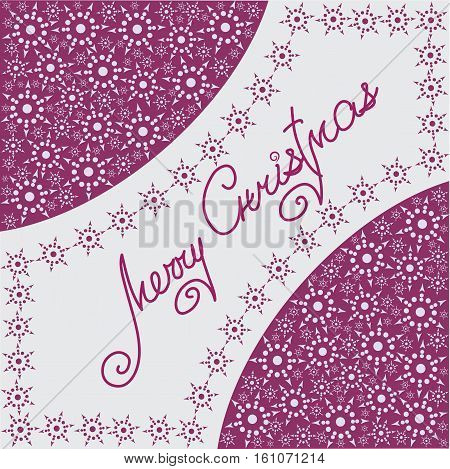 Christmas composition with snowflakes. Design a festive banner, poster, greeting card on a purple-pink background.