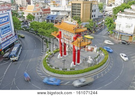 Bangkok Thailand - May 1 2015: Gate Of Chinatown. Arch Marks The Beginning Of Famous Yaowarat Road,