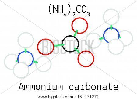 Ammonium carbonate N2H8CO3 molecule isolated on white