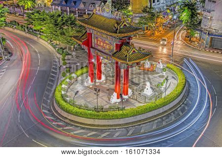 BANGKOK THAILAND - May 1 2015: Gate of Chinatown. Arch marks the beginning of famous Yaowarat Road, heart of Chinatown.