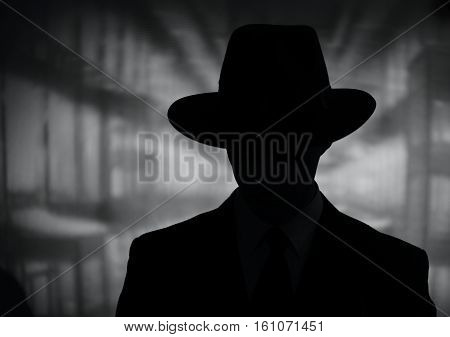 Silhouette Of A Mysterious Man In A Hat
