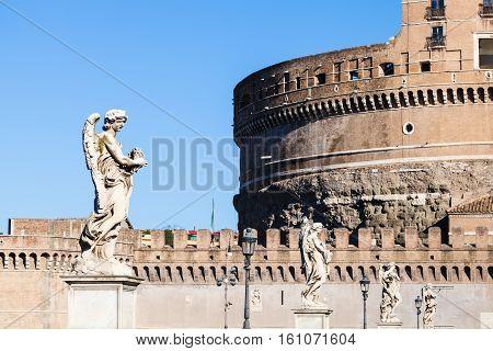 Statues Of Angels On Bridge Ponte Sant Angelo