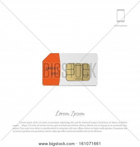 SIM card on a white background. Object of smartphone to make calls. Vector illustration