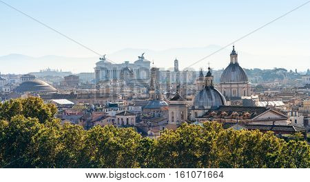 Panorama Of Rome City In Side Of Capitoline Hill