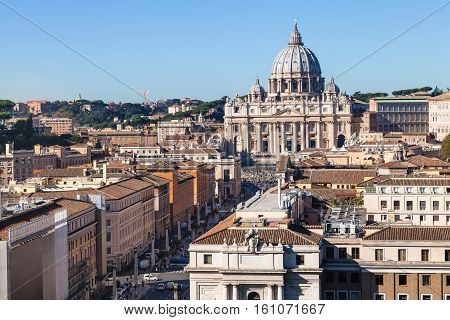 St Peter's Basilica And Street Via Conciliazione