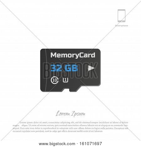 Micro SD card. Memory chip on white background. Vector illustration