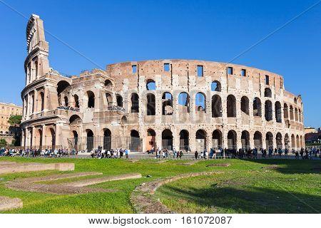 View Of Ancient Roman Amphitheater Coliseum