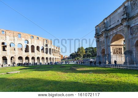 Arch Of Constantine And Colosseum In Rome