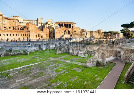 Remains Of Trajan's Forum In Rome City
