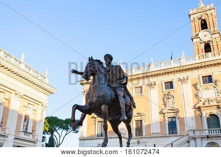 Statue Of Marcus Aurelius On Piazza Campidoglio