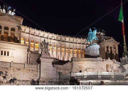 Altare Della Patria In Rome City In Night