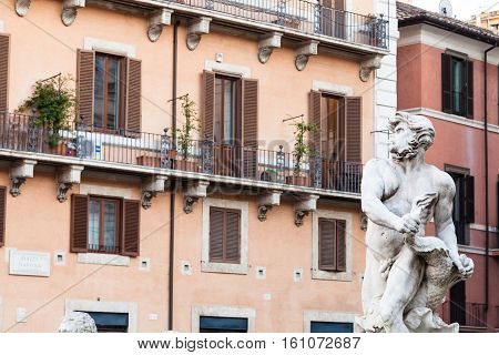 Statue Of Moor Fountain On Piazza Navona In Rome