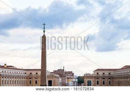 Obelisk With Cross On Saint Peter's Square