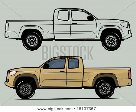 Off-road vehicle on gray background, vector illustration
