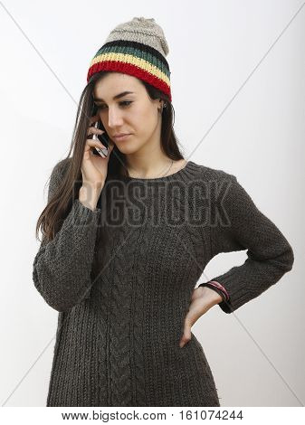 Hipster girl receive bad news by mobile phone