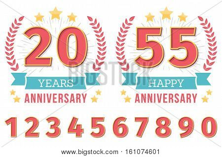 Anniversary emblem with ribbon, stars and laurel wreath, create your anniversary emblems, set of numbers included, vector eps10 illustration