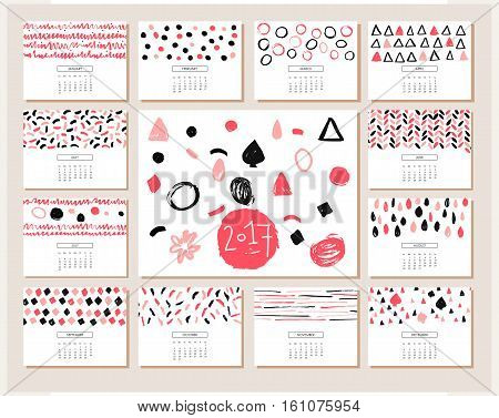 Creative calendar. Hand drawn Texture. Calendar Planner for 2017 Year. Set of 12 Months. Calendar for 2017 vector template with abstract geometric pattern.