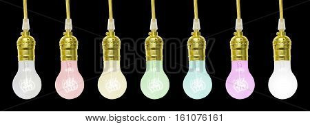Colorful Mini Incandescent lamp on a black background
