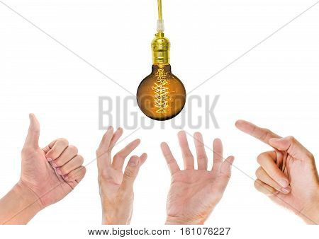 Hand with Incandescent lamp on a white background
