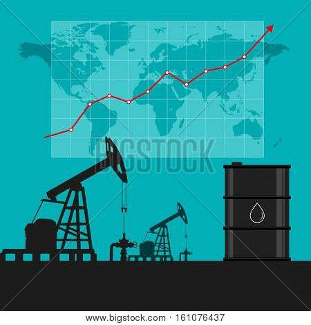 Oil Industry Concept. Oil Price Growing Up Graph And Chart With World Map Background.