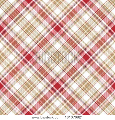 Beige red white fabric seamless pattern. Vector illustration.