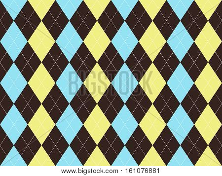 Brown blue yellow argyle seamless pattern. Flat design. Vector illustration.