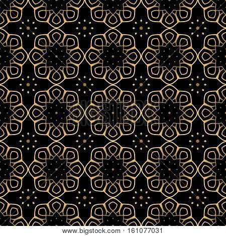 Seamless pattern of gold arabesques on a black background. Rosette serial rhythmic pattern.