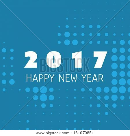 Simple Blue and White New Year Card, Cover or Background Design Template - 2017