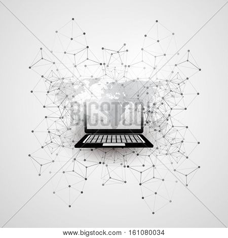 Abstract Cloud Computing and Global Network Connections Concept Design with World Map, Laptop Computer, Wireless Mobile Device, Transparent Geometric Mesh - Illustration in Editable Vector Format