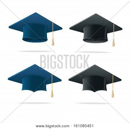 Student Hat Blue and Black Set. Academic Caps Symbol Finish Education Isolated on White. Vector illustration