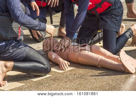 cpr training dummy child drowning course near side pool