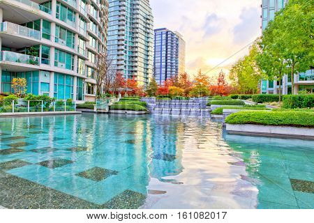 Cascade Of The Silky Water In Downtown Of Vancouver, Canada.